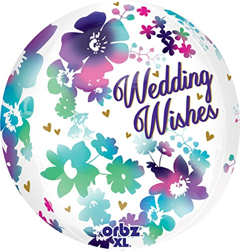Anagram International Watercolor Wedding Wish Orbz Balloon, 16
