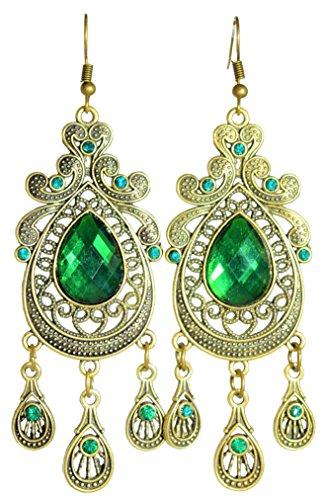 - LiveSublime Emerald Green and Antiqued Gold Exotic Boho Dangle Drop Earrings