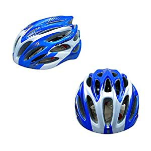Adult Cycling Helmet Outdoor Riding Sports Safety Helmet Unisex Adjustable Chin Strap Size 57-62cm (Blue & Silver)