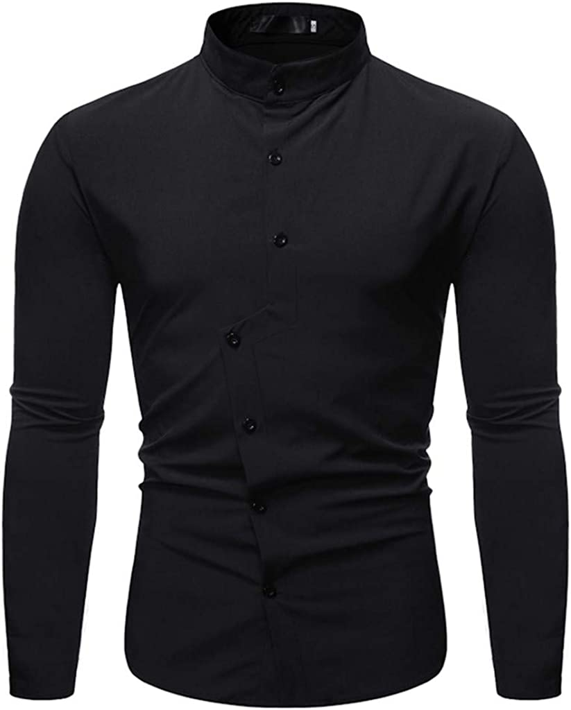 Uqiangy Mens Simple Solid Long Sleeve Banded Collar Button Shirt
