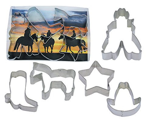 R&M International 1930 Cowboy Cookie Cutters, Star, Horse, Cowboy, Boot, Hat, 5-Piece Set ()