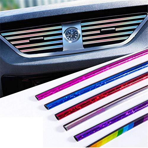 - 10Pcs/Set DIY Chrome Styling Moulding Air Conditioner Outlet Grille Decoration Car Air Vent Trim Strip Car-Styling Blue