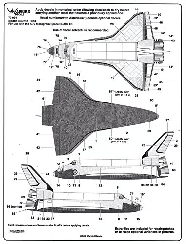 WBD72034 1:72 Warbird Decals - Space Shuttle Tiles (for use with the Revell model kit) [WATERSLIDE DECAL SHEET]