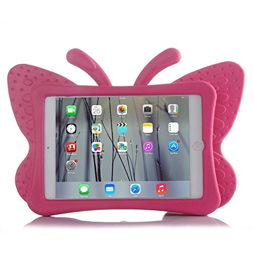 HCHA Apple iPad 2 3 4 Kids Case Kids Proof Shockproof Protective Case Drop-proof Durable Light Weight EVA Foam Case for iPad 2/3/4 Generation 9.7 Inch (Butterfly Rose Red)