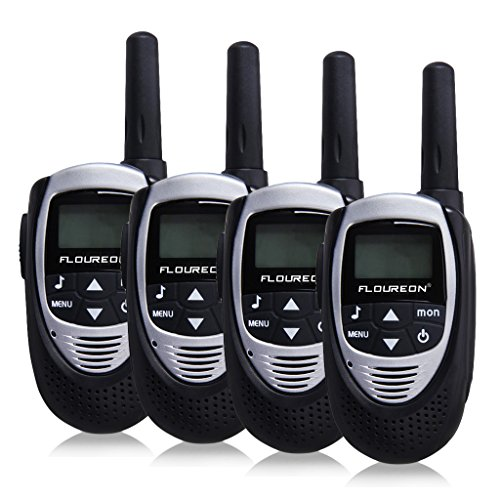 3 Mil Mini (Floureon 22 Channel FRS/GMRS 2 Way Radio 2 Miles (Up to 3 Miles) UHF Handheld Walkie Talkie (Pack of 4, Mini Silver Black))