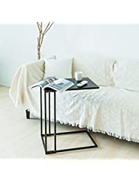 C Hopetree Sofa Side Table Metal Snack Laptop End Table For Living Room,  Black