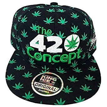King Ice Cannabis Marijuana Weed leaf Flat Peak Snapback Caps 5ff9308ccd23