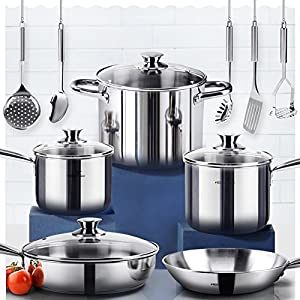 HOMI CHEF 14-Piece Mirror Polished Nickel Free Stainless Steel Cookware Pots and Pans Sets (No Toxic Non Stick Coating, Frying Pan + Saute Pan + 2 Sauce Pans + Stock Pot + 5 Utensils) - Cookware Sets