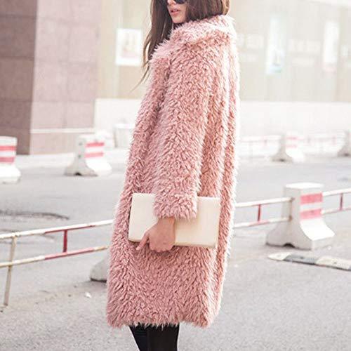 De Felpa Rosa Outerwear Mujer Largo Espesar Abrigo Chaqueta Invierno Kindoyo AOUqSwq