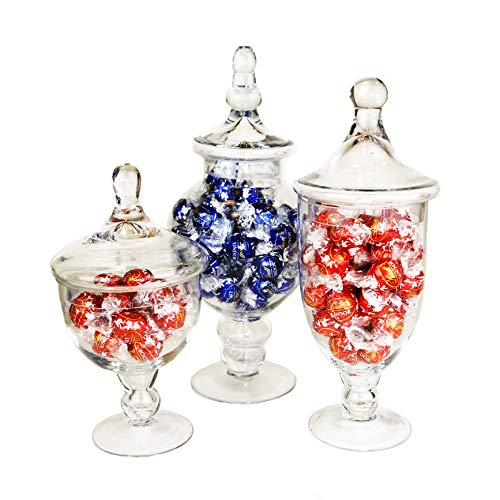 (CYS EXCEL Candy Jar, Glass Apothecary Jars, Set of 3, Candy Buffet Jars, Glass Jar with Lid, (AA))