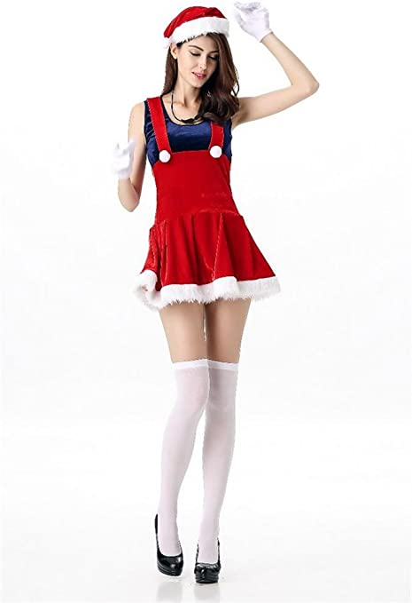 FENGHAO Disfraz de Mujer Miss Red Christmas Costume Fancy Mini ...