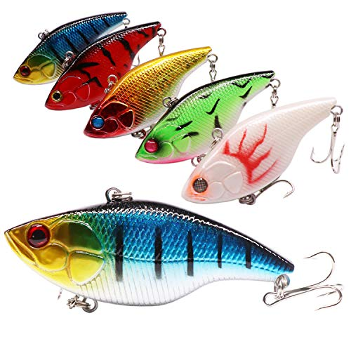 SUPERTHEO Fishing Lures Plastic Minnow Spoons Crankbaits VIB Topwater Sinking Fishing Baits (Model-D)
