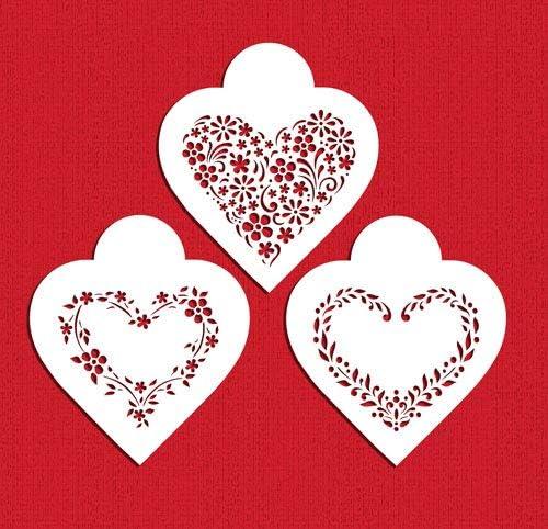 Floral Hearts Cookie Stencil Set C1055 by Designer Stencils