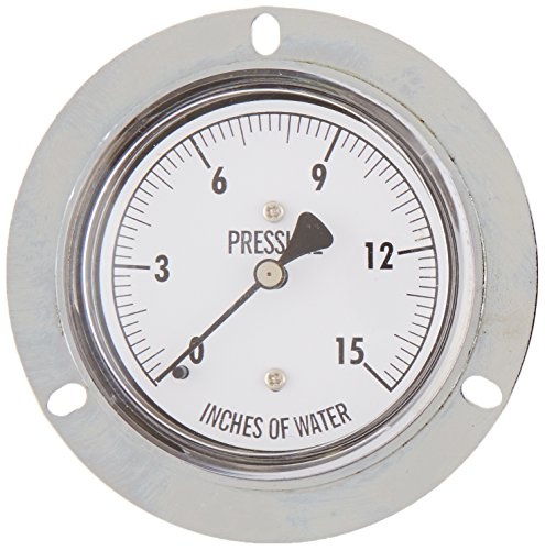 "PIC Gauge LP4-254-15  2.5"" Dial, 0/15"" wc psi Range, 1/4"" Male NPT Connection Size, Back Connection, Front Flange Panel Mount Dry Non-Fillable Low Pressure Gauge with a Chrome Case, Brass Internals, and Plastic Lens"