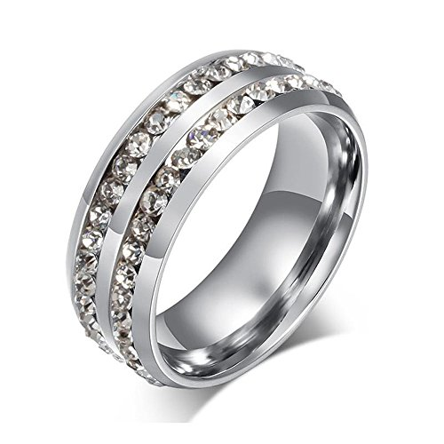 Kardiar 8MM Silver Double Crystal Diamond Plated Mens Titanium Steel Engagement Rings With Polished Finish Edges Personalized Unique Comfort Fit Design Classic Inlay Diamond Rings For Men Promise Wedding Band Gift Jewelry Size 6-13 (Diamond Engagement Rings For Men compare prices)