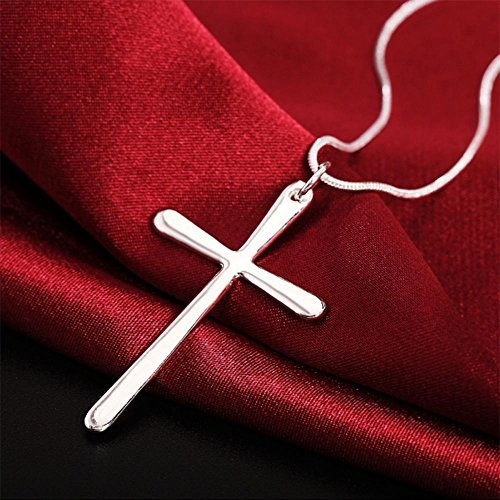 Walnut Finish Pendants - Sale Steel Delicate Stunning Chic Cross Pendant Chain Silver Plated Necklace