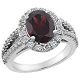 10K White Gold Diamond Natural Garnet Engagement Ring Oval 10x8mm, size 6.5