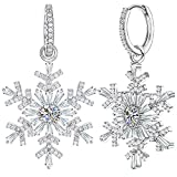 Dangle Earrings for Women Snowflake Earrings Jewelry Silver Platinum Plating Cubic Zirconia with Swarovski Earrings