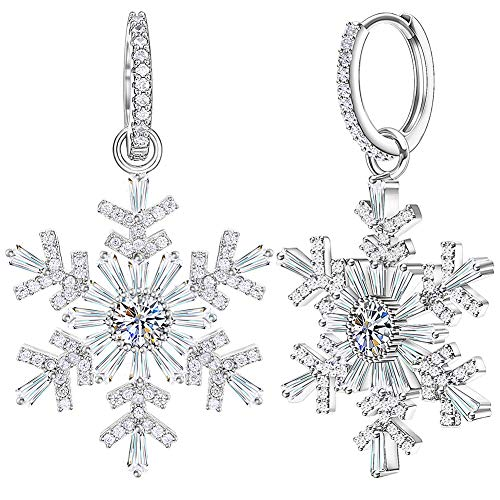 Dangle Earrings for Women Snowflake Earrings Jewelry Silver Platinum Plating Cubic Zirconia with Swarovski Earrings