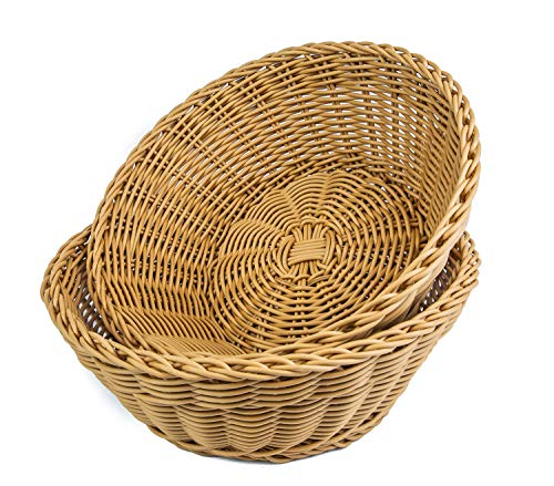 KOVOT Poly-Wicker Round Baskets Set of 2-10.5