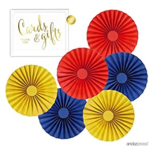 Andaz Press Rosette Pinwheels Hanging Paper Decor Trio Kit with Free Gold Party Sign, Red, Yellow, Blue, 10-inch, 6-Pack, For Kids 1st Birthday