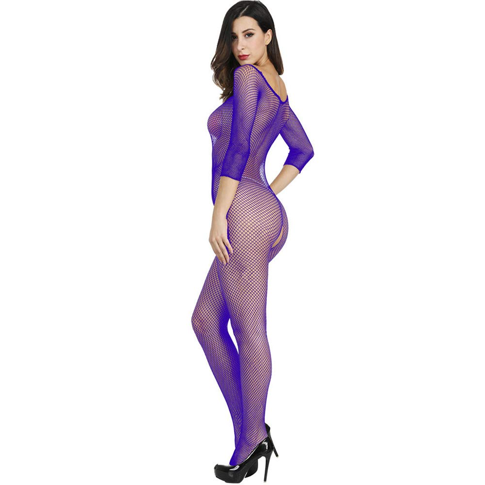 Axiba Women's Plus Size Fishnet Body Stockings Striped Lingerie Crotchless Bodysuits Tights Suspenders (Purple)