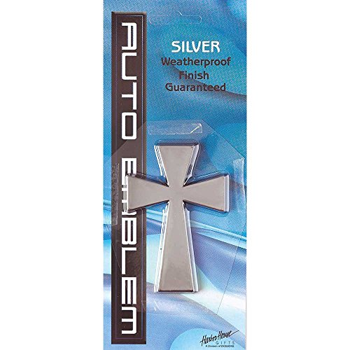 - Christian Cross Weatherproof Large Auto Emblem - Silver