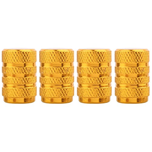 TOMALL Round Style Wheel Tyre Valve Stem Caps Gold for Motorcycles Rims Dustproof Caps