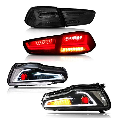MOSTPLUS Dual Beam DRL Devil Eyes Halo Projector Headlights & Tail Lights for Mitsubishi Lancer EVO X 2008-2017 ()
