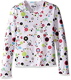 Hot Chillys Youth Pepper Skins Print Crewneck, Dots & Hearts-White, XX-Small