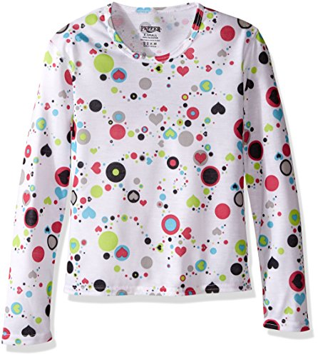Hot Chillys Youth Pepper Skins Print Crewneck, Dots & Hearts-White, X-Small by Hot Chillys