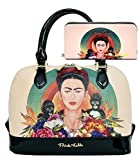 Frida Kahlo Licensed Purse Wallet Set, Jungle themed Handbag (Black)