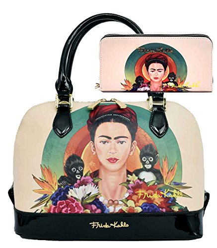 Frida Kahlo Licensed Purse Wallet Set, Jungle themed Handbag (Black) by Frida Kahlo
