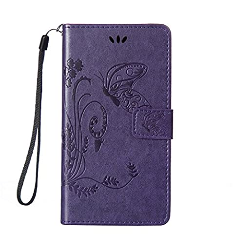 L90 Case, LG Optimus L90 Case, Love Sound [Butterfly Flower//Purple] [Wrist Strap] Luxury PU Leather Wallet Case Flip Cover Built-in Card Slots Stand for LG Optimus L90 (T-Mobile) / (Covers Lg Optimus L90)