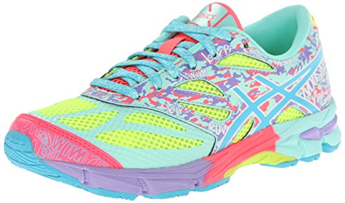 Price comparison product image ASICS GEL Noosa Tri 10 GS Running Shoe (Little Kid/Big Kid),Flash Yellow/Turquoise/Diva Pink,5 M US Big Kid