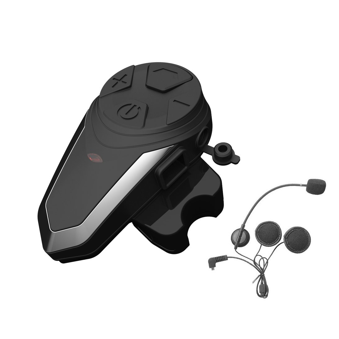 BT-S3 Interphone System Motorbike Helmet Bluetooth Intercom Communication Headset With Microphone Motorcycle Rider (Range 1000M/MP3 Player/GPS/FM Radio/Waterproof)-Black