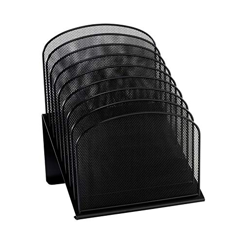 (Safco Products Onyx Mesh 8-Tier Vertical Desktop Organizer 3258BL, Black Powder Coat Finish, Durable Steel Mesh Construction, Space-Saving Functionality)