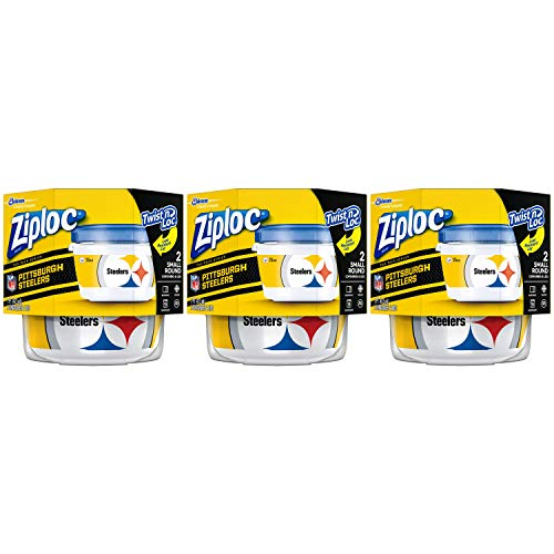 Ziploc Brand NFL Pittsburgh Steelers Twist 'n Loc Containers, Small, 2 ct, 3 Pack ()