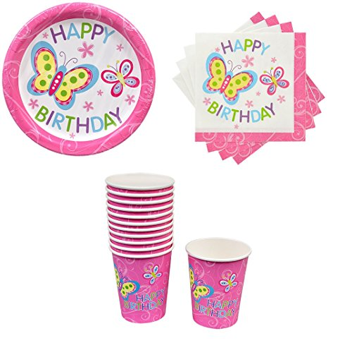 Set of Happy Birthday Butterfly Disposable Paper Plates, Napkins and Cups