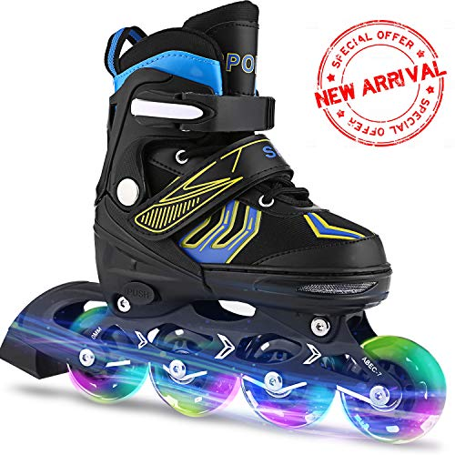 ANCHEER Inline Skates Adjustable Women Men Kids Roller Skates for Girls Boys Size 12-8 Aggressive Urban Toddler Skating (Blue Whirlwind, US 2-5)