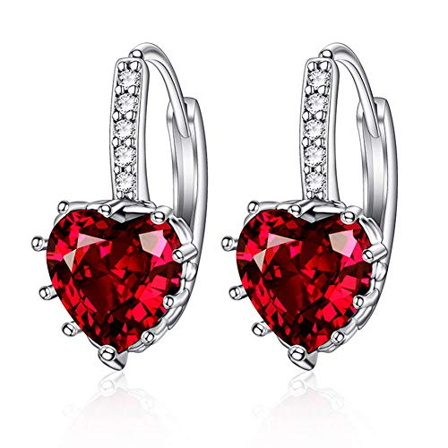 Songlanbuy Crystal Love Heart Earrings Dangle, Heart Cubic Zirconia Drop Earrings Hypoallergenic Silver Plated Copper Hook Earrings Valentine Gifts for Women, Girls or Bride Sensitive Ears (Red)