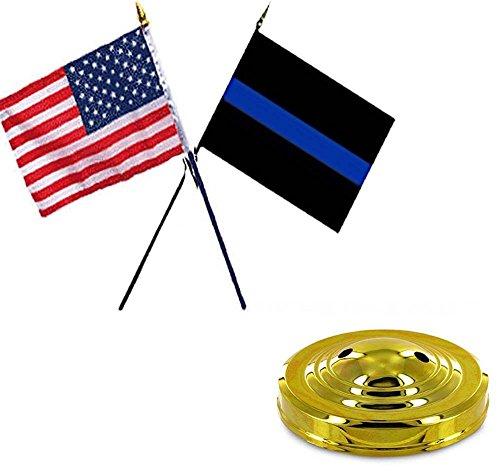 미국 미국 w 경찰 파란색 라인 플래그 4 x 6 책상 세트 테이블 골드..