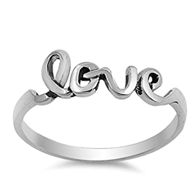e487564594 Amazon.com: Cursive Love Ring Sterling Silver 925, Promise Jewelry ...
