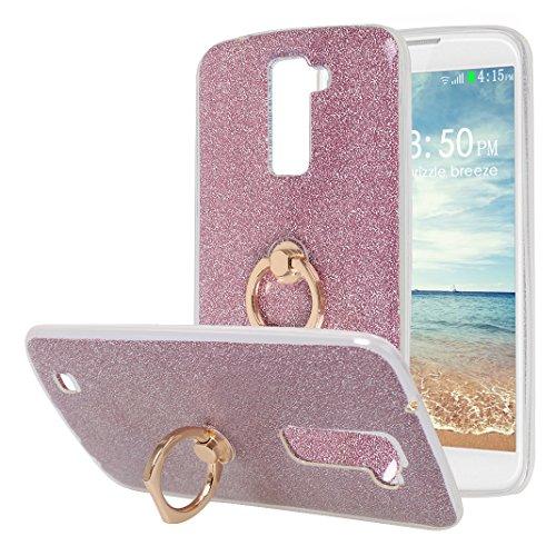 LG K10 Funda con Anillo, LG K10 Carcasa, Moon mood® Suave TPU + Papel Brillo Hybrid 2 en 1 con 360 Rotación Anillo Soporte Función Bling Glitter Sparkle Silicona Trasero Caso Cubierta Protectora Funda Rosa