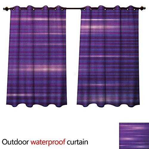 Anshesix Indigo Outdoor Balcony Privacy Curtain Stripe Like Horizontal Lines Modern Minimalist 70s 80s Inspired Design W96 x L72(245cm x 183cm) -