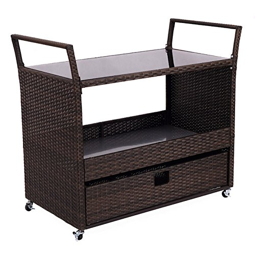 Rolling Portable Rattan Wicker Kitchen Island Trolley Cart With Shelves Push-Pull Drawer Large Storage Space Restaurant Dining Smart And Compact Design Constructed With Premium Quality - West Melbourne Sale For