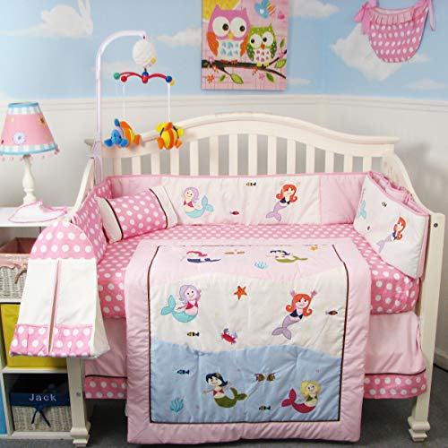 SoHo Mermaids Baby Crib Nursery Bedding Set 13 pcs included Diaper Bag with Accessories (Crib Baby Quilt Nursery New)