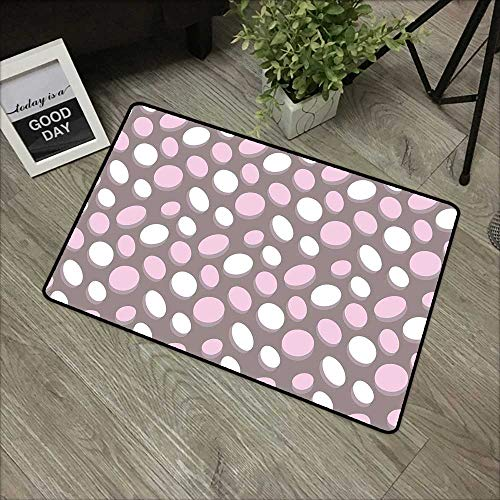Door mat W35 x L59 INCH Geometric,Retro Oval Pattern Circles Abstract Pale Vintage Elliptical Design,Warm Taupe Pink Cream Our Bottom is Non-Slip and Will not let The Baby Slip,Door Mat Carpet