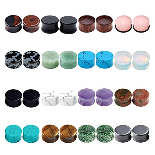 Jovivi 16 Pairs Mixed Natural Semi-Precious Stone Wood Flared Saddle Plug Tunnels Ear Expander Stretcher Set Ear Gauges Kit ()