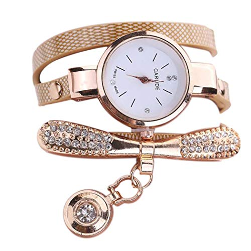 Inkach Women Leather Rhinestone Analog Quartz Wrist Watches Gift (Beige) from Inkach